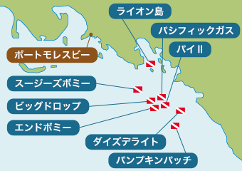 ポートモレスビーのダイビングマップ